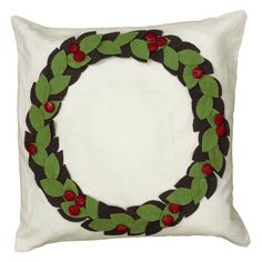 Rizzy Home Applique and Embroidery Details with Hand Sewn Buttons Decorative Throw Pillow - PILT06128CRGR1818