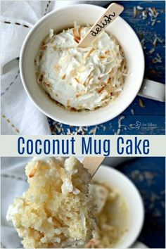 Coconut Mug Cake - Simple dessert for one, made in minutes. - - Need to curb a sweet tooth? This Coconut Mug Cake the perfect dessert for one. Moist coconut cake topped with whipped cream and toasted coconut, in minutes. Easy Mug Cake, Cake Mug, Keto Mug Cake, Simple Mug Cake Recipe, Gluten Free Mug Cake, Kokos Desserts, Coconut Desserts, Easy Desserts, Single Serve Desserts