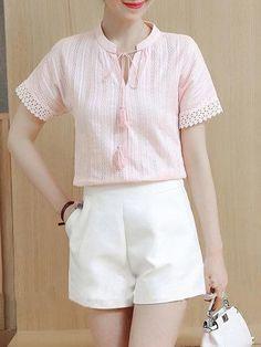 #Spring #AdoreWe #PopJulia - #PopJulia Tie-neck Short Sleeve Solid Casual Linen Blouse - AdoreWe.com