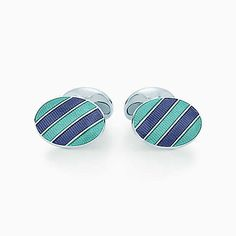 Oval cuff links in sterling silver with blue and Tiffany Blue enamel finish.