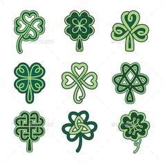 Illustration of Celtic clover patterns. Holiday symbols on a white background. vector art, clipart and stock vectors. Celtic Clover Tattoos, Celtic Tattoo Symbols, Four Leaf Clover Tattoo, Irish Celtic Symbols, Small Celtic Tattoos, Celtic Knot Tattoo, Mayan Symbols, Viking Symbols, Egyptian Symbols