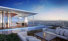The penthouse atop the Four Seasons Private Residences-Los Angeles will have a garden and a swimming pool. Beverly Hills, Moderne Pools, Luxury Penthouse, Luxury Condo, Moraira, Modern Mansion, Pent House, Pool Designs, Luxury Living