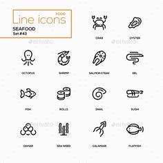 Seafood Concept - Line Design Icons Set - Miscellaneous #Icons