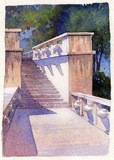 steps - prague castle by Thomas W. Schaller Watercolor ~ 11 inches x 8.5 inches