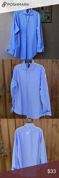 Men's shirt Sky blue & white checkerboard dress shirt from Neiman's.  True fit cut. French cuffs so cufflinks are needed. In like new condition. Neiman Marcus Shirts