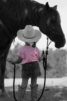 A little girl and her horse ✿ #pink #colorsplash #photography