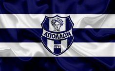 Download wallpapers Smyrnis FC, 4k, Greek football club, emblem, logo, Super League, championship, football, Athens, Greece, silk texture, flag