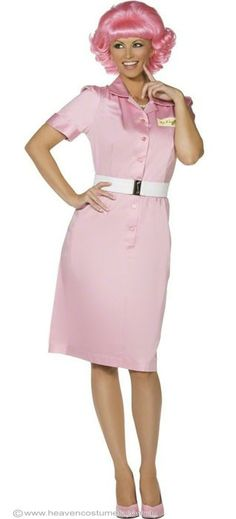 womens pink ladies frenchie grease costume adult grease costume halloween costumes fancy dress - Halloween Costume Pink Dress