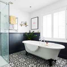Bathroom makeover with roll top bath statement floor tiles and wood top panelling in this three-bedroom Victorian terraced house in Fordingbridge, Hampshire Cottage Bathroom Design Ideas, Bathroom Inspo, Modern Bathroom Design, Bathroom Styling, Bathroom Interior Design, Bathroom Inspiration, Bathroom Ideas, Bathroom Designs, Bathroom Vanities
