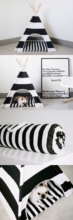 Everyone needs a little space just for themselves, including our furry friends. These teepees provide the perfect escape for your dog and are a charming addition to any room.Includes a matching zippered mat and a carry bag.
