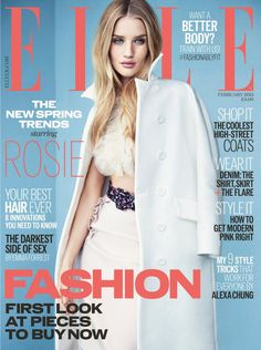 Pin for Later: Kim Kardashian Took On a Designer Dare For Love Magazine Elle UK February 2015 Rosie Huntington-Whiteley photographed by Kai Z Feng.