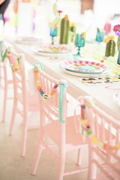 Guest table chairs from a Cactus & Candy Summer Soiree on Kara's Party Ideas | KarasPartyIdeas.com