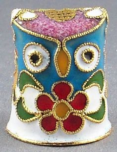 Collectable Cloisonne Owl Thimble