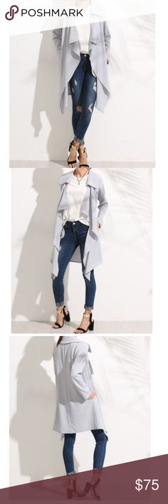 Elegant Knee Length Lapel Long Sleeve Coat Description Grey Lapel Long Sleeve Outerwear Fabric : Fabric has some stretch Sleeve Length : Long Sleeve Pattern Type : Plain Type : Coats Color : Grey Material : 95% Polyester Collar : Waterfall Bust(cm) : S:92cm, M:96cm, L:100cm Sleeve Length(cm) : S:60cm, M:61cm, L:62cm Length(cm) : S:95cm, M:96cm, L:97cm Size available : S,M,L Shoulder(cm) : S:37cm, M:38cm, L:39cm Style : Elegant Season : Autumn Length : Knee Length Jackets & Coats