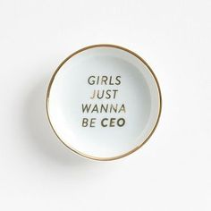 Whether you keep this trinket dish on your bedroom dresser, or on the desk of your corner office, it serves as a daily reminder to keep smashing the patriarchy. This mini white trinket dish says Gir
