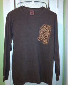 Ladies long sleeve raggy state shirt. Applique shirt. Mississippi Louisiana Alabama. Leopard chevron on Etsy, $20.00