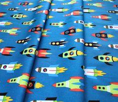 Robert Kaufman Fabrics Dino-Soar AHE-19732-394 Spaceships Blue Yonder Robert Kaufman, Fabric, Blue, Tejido, Tela, Cloths, Fabrics, Tejidos