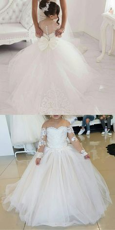 6dd0377ed3a Cute Long Sleeves Ball Gown Flower Girl Dresses With Bow 2018