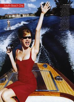 """""""Shore Things"""": Angela Lindvall in South Beach by Ellen von Unwerth for US Vogue April 2001"""