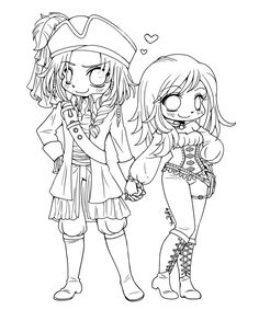 pirate couple coloring page - Coloring Pages Anime Couples Chibi