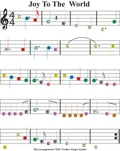 "Christmas Sheet Music For Guitar | Easy Guitar Songs Color Coded Christmas Sheet Music for ""Joy To The ..."