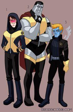 Dresden Codak's X-MEN REBOOT  1. Scott Summers/Cyclops  2. Piotr Rasputen/Colossus  3. Warren Worthington III/Archangel