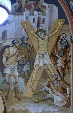The crucifixion of St. Saints, Byzantine Icons, Orthodox Christianity, Orthodox Icons, Archangel, Roman Catholic, Religion, Scene, Painting