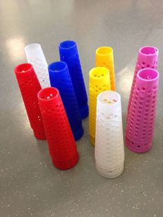 20  Mixed Colour Small Mesh Plastic Cones - Craft - Indoor, Outdoor Play