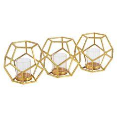 Danya B Sparkling Polyhedron Triple Candle Holder Gold, Gold Shimmer