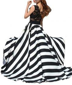 So Gorgeous! Black and White Stripe Chiffon Cotton Lace Sleeveless Floor Length Casual Maxi Dresses