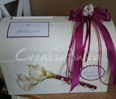 Briefbox - Geschenktruhe mit Calla zur Hochzeit in Wunschfarbe - sehr edel!