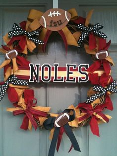 Florida State University Wreath, FSU, Seminoles (although I'm not a fan of this team, I just like the football decoration) Florida State Football, Florida State University, Florida State Seminoles, Seminole Football, Football Crafts, Football Wreath, Football Sayings, Sports Wreaths, Def Not