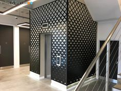 Laser cut screens - Foyer and elevator on multiple floors - Quilt design by Miles and Lincoln. www.milesandlincoln.com Wall Pannels, Mdf Wall Panels, Laser Cut Screens, Laser Cut Panels, Compass Design, Mayfair London, Laser Cutting, Architecture, House