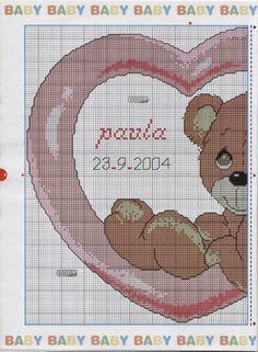 Schemi gratis da realizzare a Filet Punto Croce Maglia Uncinetto e Ricamo Cross Stitch Heart, Counted Cross Stitch Patterns, Baby Patterns, Cross Stitching, Needlepoint, Needlework, Embroidery, Crafts, Diy