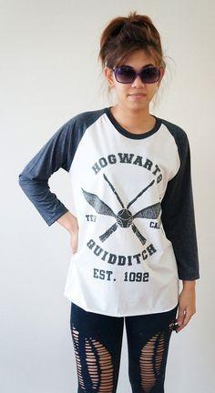 S, M, L -- HOGWARTS Quidditch TShirts Harry Potter Shirts Hogwarts Shirts Baseball Tee Jersey Raglan Long Sleeve Unisex Shirts Women Shirts on Etsy, $18.00