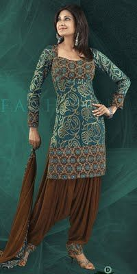 Blue patterned kameez with patiala salwar