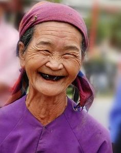 Love this smile an old woman with so much joy