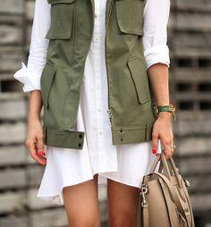 Fatigue vest // white shirt dress