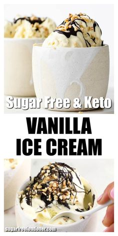 Sugar Free Vanilla Ice Cream (Low Carb, Keto) You only need 5 ingredients to make the most delicious sugar free ice cream at home! This easy vanilla ice cream recipe tastes unbelievably creamy - a low carb and Keto dessert staple for any time of the year. Brownie Desserts, Oreo Dessert, Mini Desserts, Sugar Free Desserts, Low Carb Desserts, Low Carb Recipes, Dessert Recipes, Holiday Desserts, Recipes Dinner
