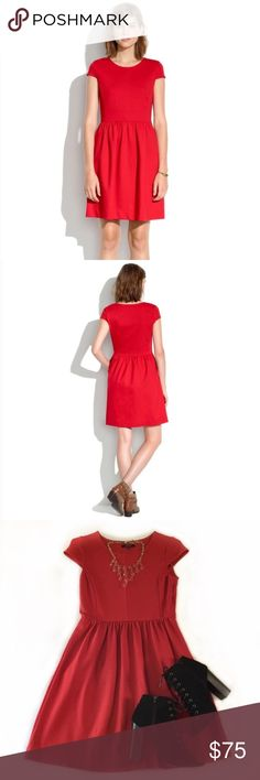 Madewell Red Cap Sleeve Ponte Stretch Knit Dress Cute meets comfortable in this soft, stretchy ponte knit dress. Curved seams and cap sleeves are a perfect counterpoint to a twirl-friendly full skirt. In excellent used condition; Retailed for $138. Madewell Dresses Mini