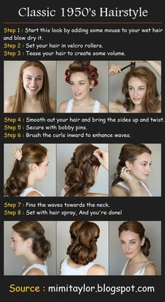 I love this style pin-up hair! Looks simple enough. May do the go-to-bed-with-wet-hair-in-a-ponytail routine for lift and hot rollers the next day for the waves. Faster and easier to get the same results. by veronicawasp Classic Hairstyles, Retro Hairstyles, Wedding Hairstyles, Vintage Hairstyles Tutorial, 1950s Hairstyles For Long Hair, Tiara Hairstyles, Hairstyles Videos, Long Haircuts, Simple Hairstyles