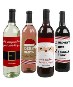 Look what I found on #zulily! Funny Santa Wine Bottle Label - Set of Eight by Big Dot of Happiness #zulilyfinds