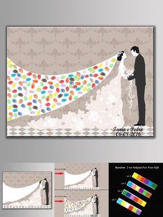 [Visit to Buy] Fingerprint Wedding Guest Book Tree Personalized Wedding Fingerprint Tree Guest DIY Wedding Souvenirs Waterproof Canvas GIFT #Advertisement