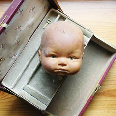 doll head scary spooky halloween decor baby by thevintagecup, $16.00