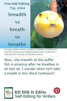 A Word Confusion post that explores the breadth of the difference between a breath and a self-editing writer who breathes.