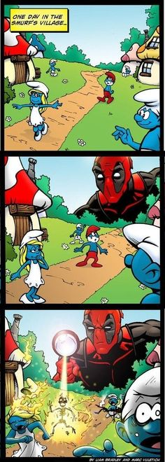 Deadpool Funny | Deadpool vs. The Smurfs funny picture