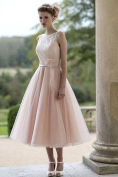 Blush Illusion Sleeveless Lace and Tulle Tea Length Informal Wedding Dress