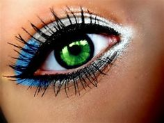Panthers colors eye makeup....def gonna try this for game day