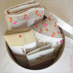 Coffret naissance cadeau Maïa14 tissu petit pan