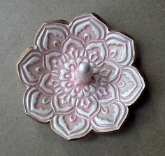 Ceramic Lotus Ring Holder Bowl gold edged 3 1/4 inches round Dusty Pink Rose color (20.00 USD) by dgordon